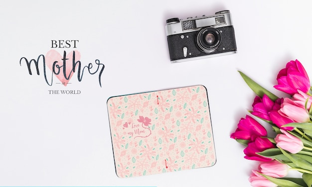 Flat lay mothers day composition with open book mockup