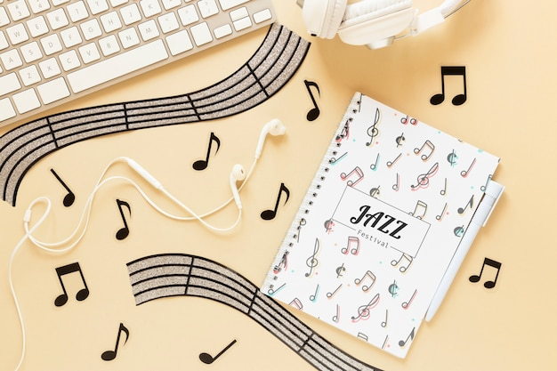 Flat lay of music concept on plain background