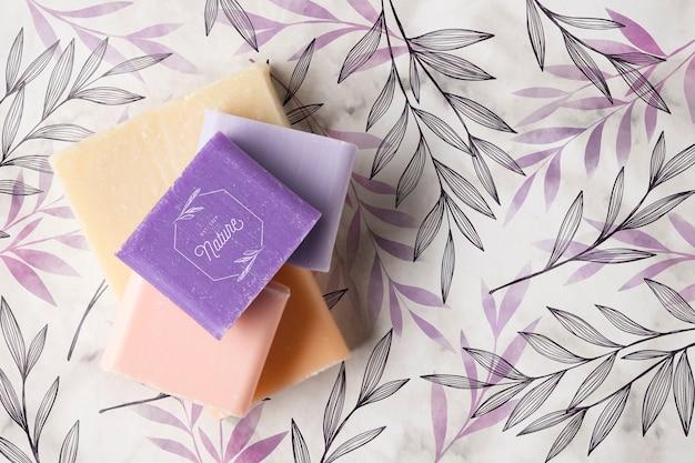 Flat lay of natural soap arrangement