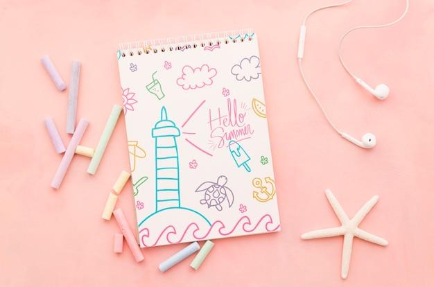 Плоский макет обложки блокнота для летних концепций