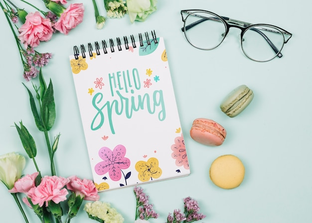 Flat lay notepad mockup with spring concept
