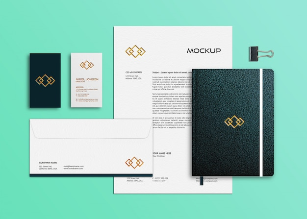 Плоский макет фирменного логотипа канцелярских товаров