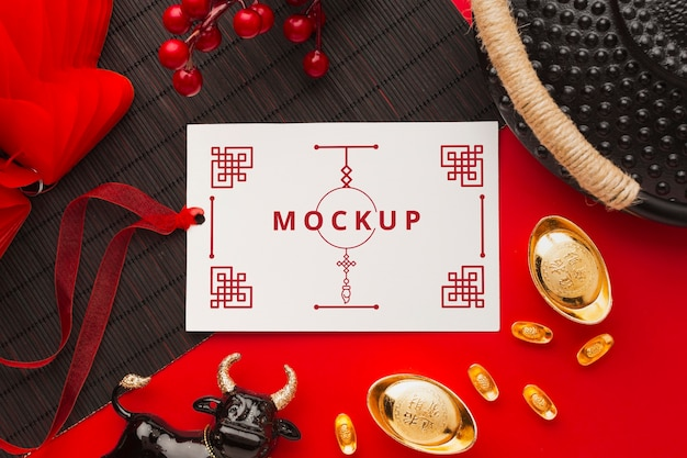 中国の旧正月のモックアップのフラットレイ