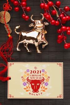 Плоский макет китайского нового года