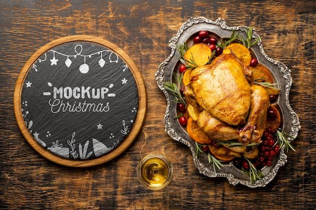 Плоский макет вкусной рождественской еды