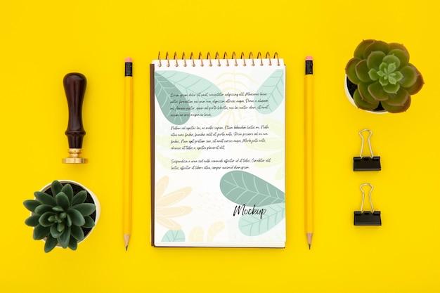 多肉植物とノートと机の表面のフラットレイアウト