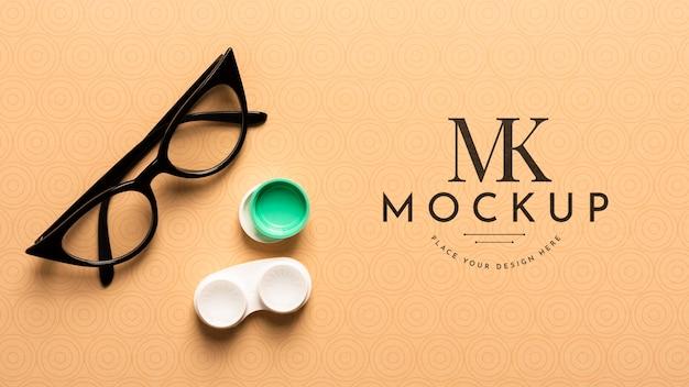 メガネのモックアップのフラットレイ