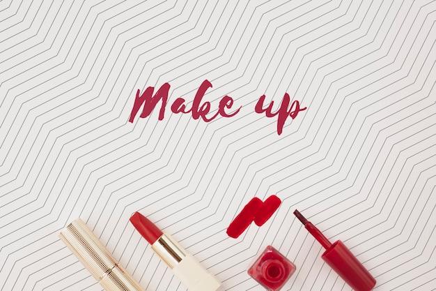 Плоская планировка макета концепции макияжа