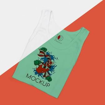 Tシャツコンセプトモックアップのフラットレイ
