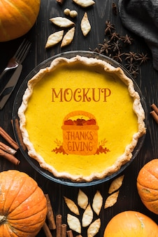 Плоский макет концепции благодарения