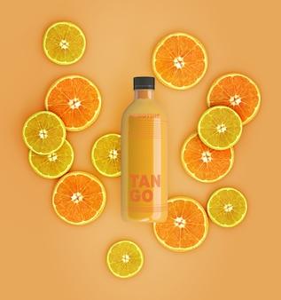 평평하다 오렌지와 레몬 스무디 모형