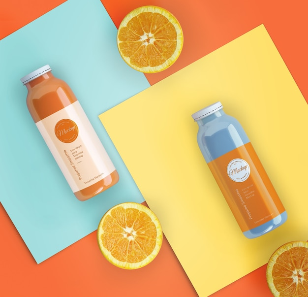 Flat lay orange smoothies mock-up