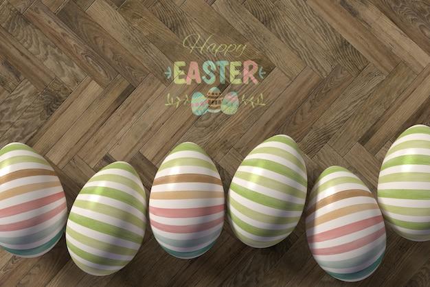 Piatto posate le uova dipinte sul tavolo