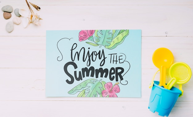 Flat lay paper card mockup with summer elements