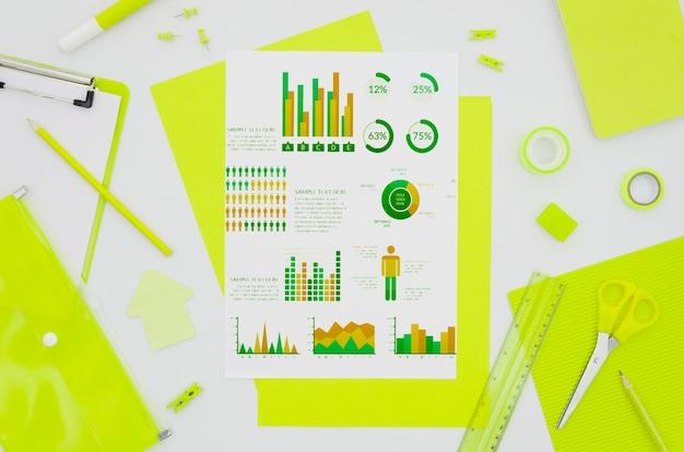 Макет плоской бумаги с различными графиками