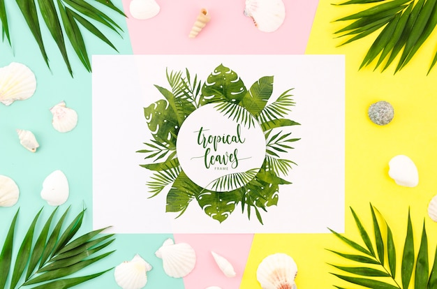 Flat lay paper mockup for summer concepts