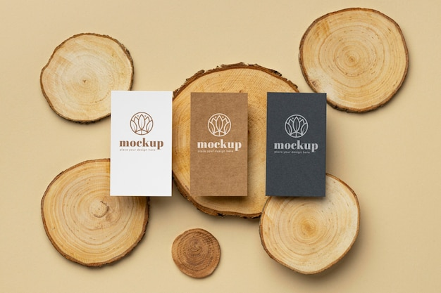 Flat lay of paper stationery with wood