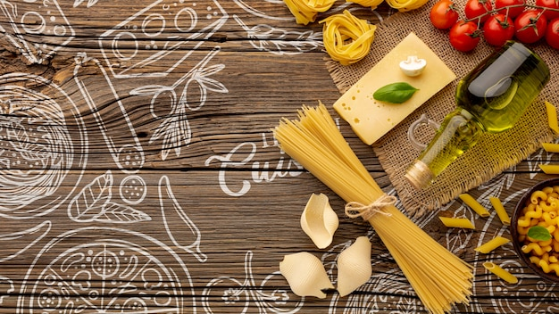 Flat lay pasta ingredients on hand drawn background