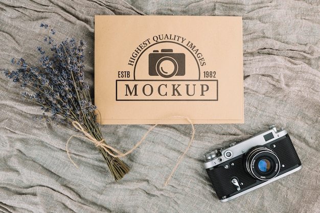 Flat lay photo camera mockup Free Psd