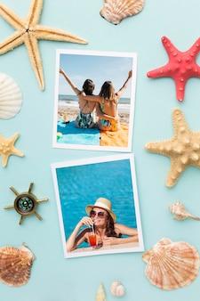 Flat lay photos and starfish arrangement