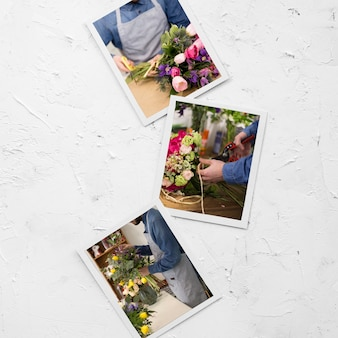 Flat lay of photos with florist and bouquet of flowers