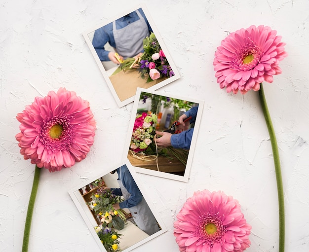 Flat lay of photos with spring daisies