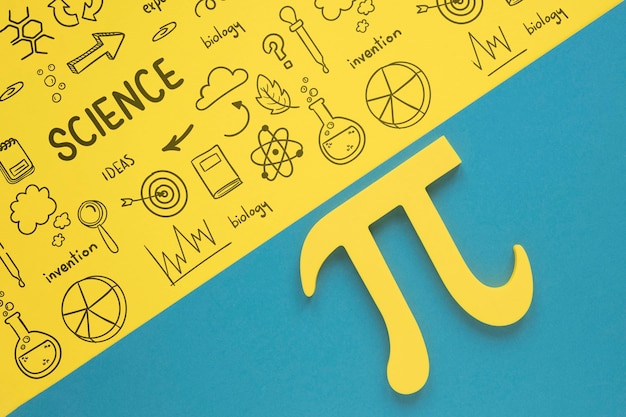 Flat lay of pi sign for mathematics