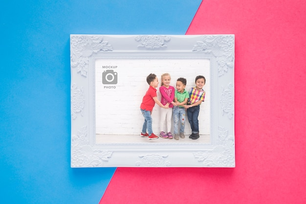Flat lay of plain picture frame
