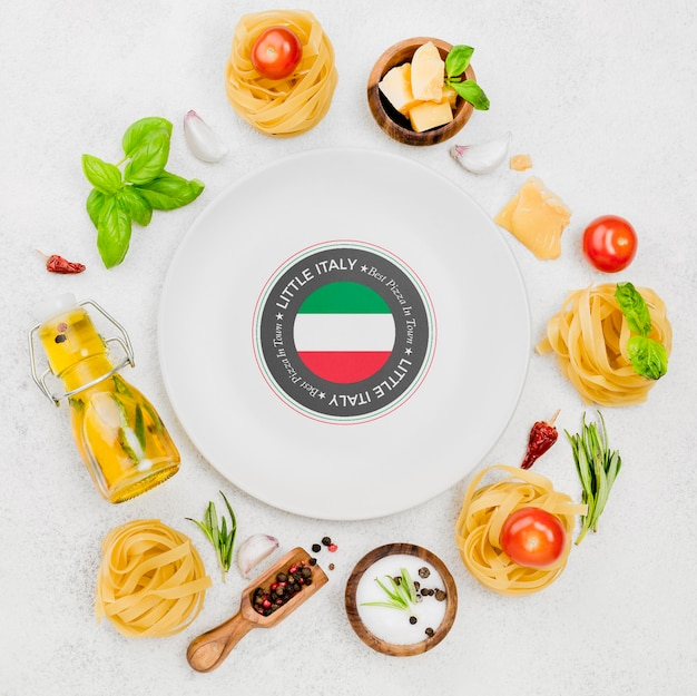 Flat lay plate and pasta arrangement
