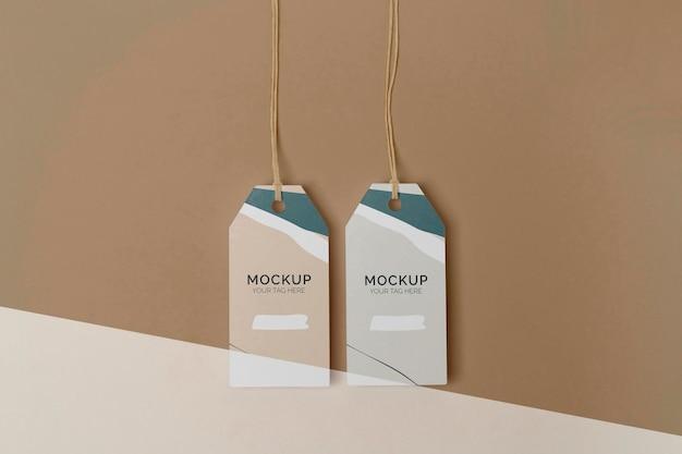 Flat lay product tag mock-up assortment