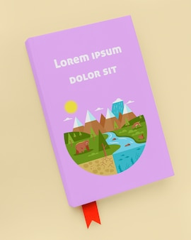 Mock-up di libro viola piatto disteso