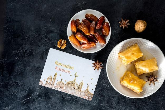 Flat lay ramadan composition with card mockup