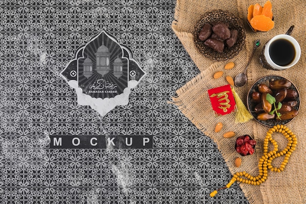 Flat lay ramadan composition with copyspace