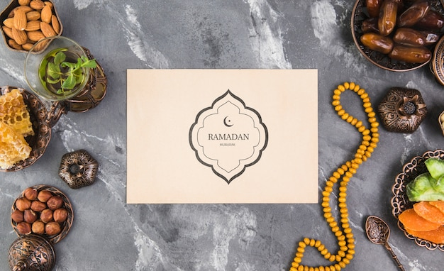 Flat lay ramadan composition with paper card template