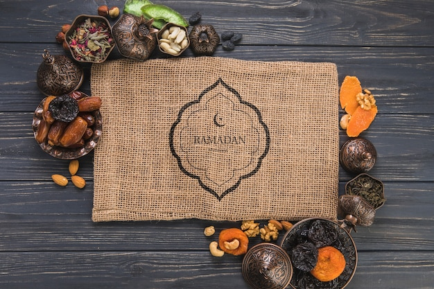 Flat lay ramadan composition with table cloth template