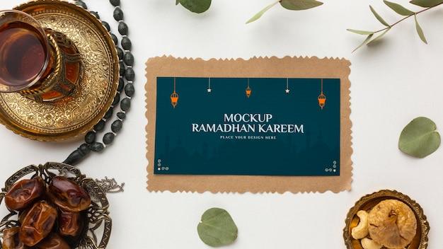 Mockup piatto di ramadan kareem