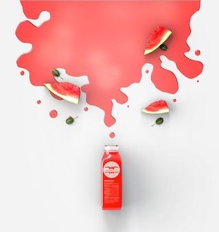 Flat lay red smoothie spilled on white background