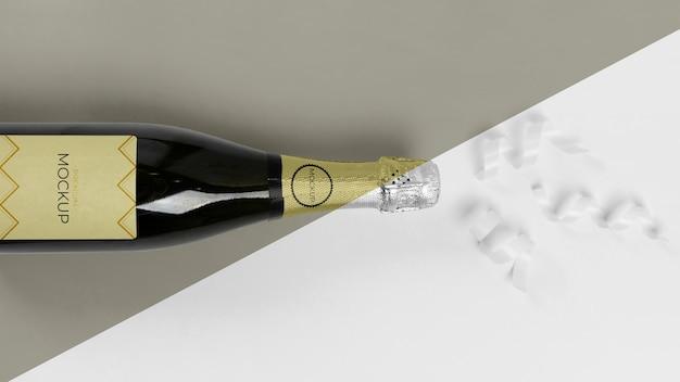 Nastri piatti laici champagne mock-up