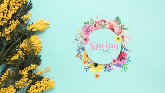 Flat lay round card mockup for spring