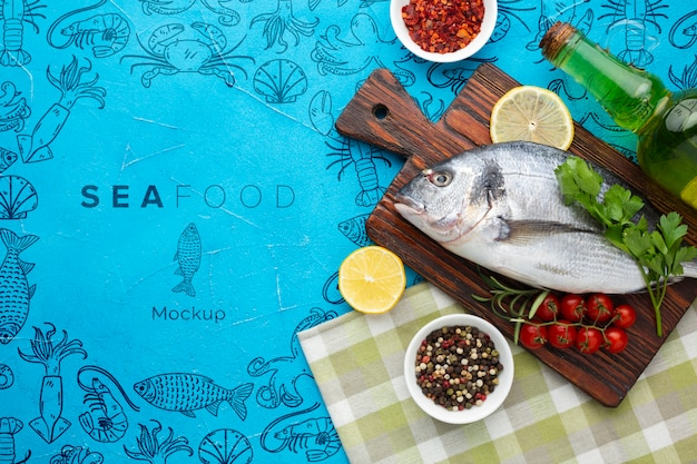 Flat lay sea food composition with mock-up