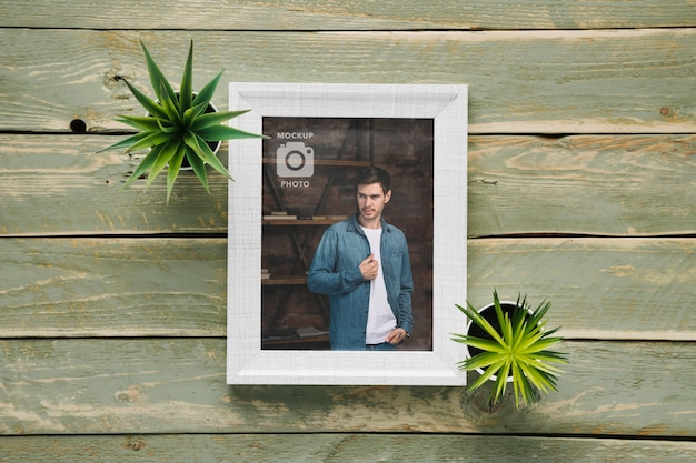 Flat lay of simple frame with succulent plants