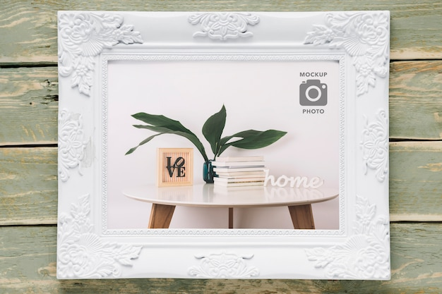 Flat lay of simple rectangular frame