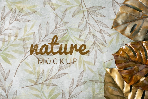 Flat lay of skincare nature mock-up