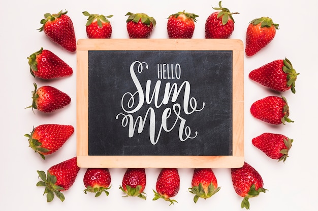 Flat lay slate mockup with strawberries