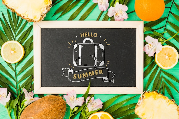 Flat lay slate mockup with summer elements