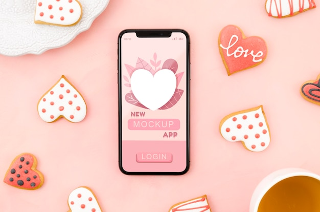 Flat lay smartphone mock-up with cookies