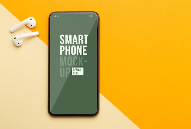 Flat lay of smartphone screen mockup