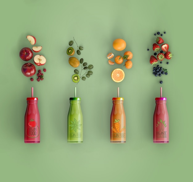 Flat lay smoothies with delicious fruits mock-up