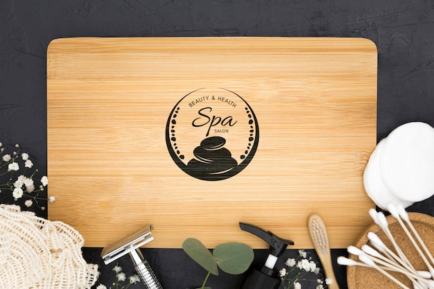 Flat lay spa center mock-up minimalist