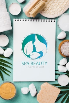 Flat lay of spa concept mock-up